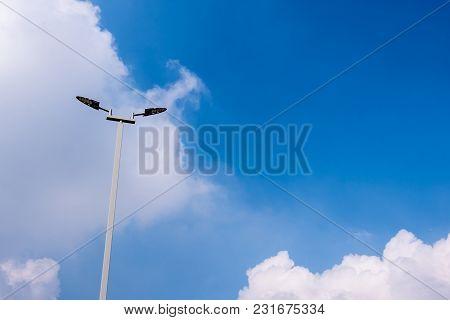 Led Street Lights On High Steel Pillars