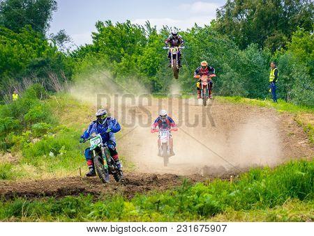Uzhgorod, Ukraine - May 21, 2017: Extreme Enduro Moto Sport Rider In The Action. Transcarpathian Reg