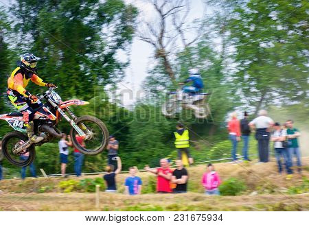Uzhgorod, Ukraine - May 21, 2017: Extreme Enduro Moto Sport Rider In The Action. Motion Blur With Fl