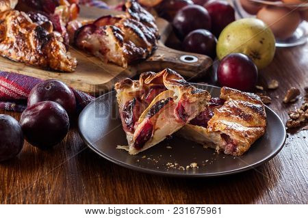 Portion Of Galette With Pears And Plums