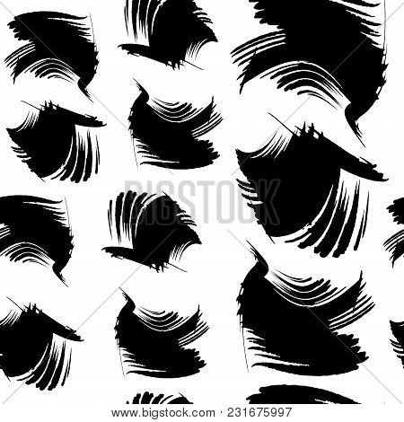 Hand-drawn Spots, Brush Strokes. Vector Seamless Pattern In Grunge Style Eps10