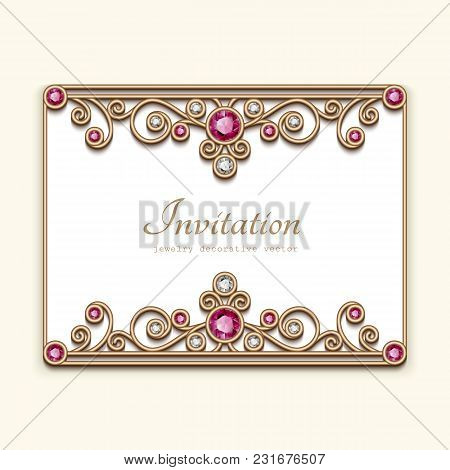 Vintage Vector Card With Diamond Jewelry Decoration, Gold Rectangle Frame, Flourish Vignette, Elegan