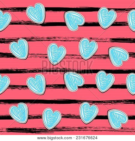 Stripes, Brushstrokes And Hand-drawn Hearts. Vector Seamless Pattern In Grunge Style Eps10