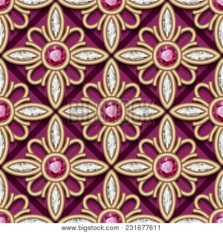 Vintage Jewelry Gold Ornament, Vecctor Seamless Pattern With Diamonds And Ruby Gems