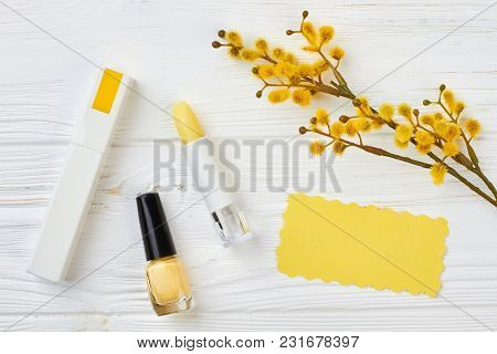 Decorative Cosmetics On Wooden Background. Feminine Desk With Cosmetic: Lipstick, Perfume, Nailpolis