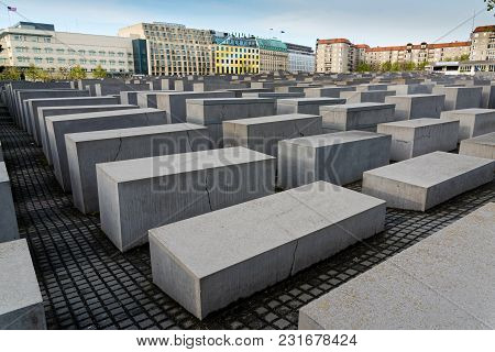 Berlin, Germany - April 15, 2017: View Of The Memorial To The Murdered Jews Of Europe On April 15, 2