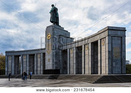 Tberlin, Germany - April 16, 2017: Tourists Visit The Soviet War Memorial On April 16, 2017 In Berli