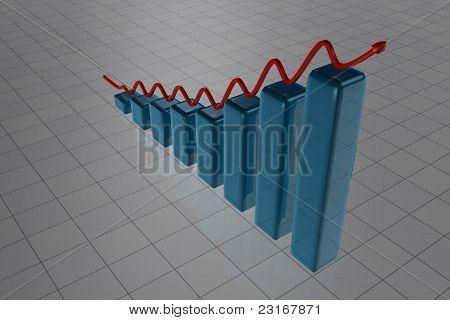 Blue Rising Bars