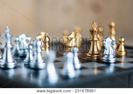 Silver And Golden With Enemy In Game Metaphor Tactics And Business Plan Concept