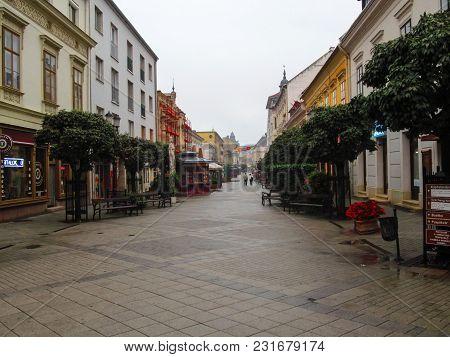 Hungary, Gyor - August 31, 2014: Tourist Pedestrian Street Baross Gabor Ut  In Gyor On A Rainy Summe