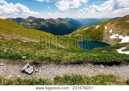 Tourist Foot Path In Fagarasan Mountains, Romania. Gorgeous View From The Hillside In To The Distant