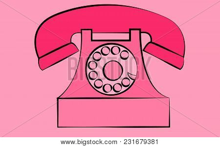 Pink Stationary Old Retro Vintage Antique Hipster Phone With Snorkel And Disk On A Pink Background.
