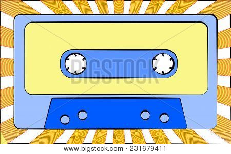 Old Retro Vintage Antique Hipster Music Audio Cassette For A Tape Recorder Against A Background Of Y