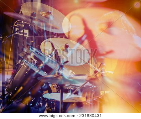 Drum Set, Music And Jazz Band Concept. A Musician Playing With Chopsticks On Percussion Instruments.