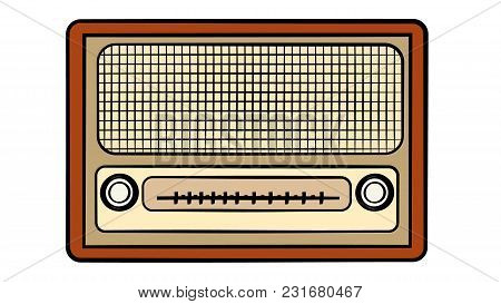 Old Wooden Brown Retro Vintage Antique Hipster Obsolete Music Radio On White Background. Vector Illu
