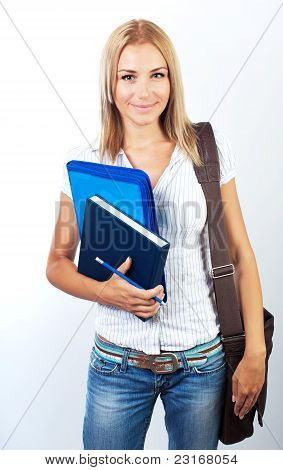 Happy Female Teen Student Portrait