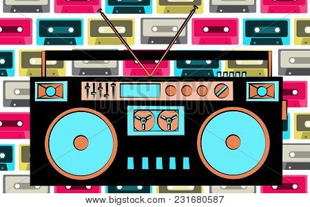 Old Retro Vintage Antique Hipster Obsolete Cassette Music Audio Tape Recorder On A Background Of Mul