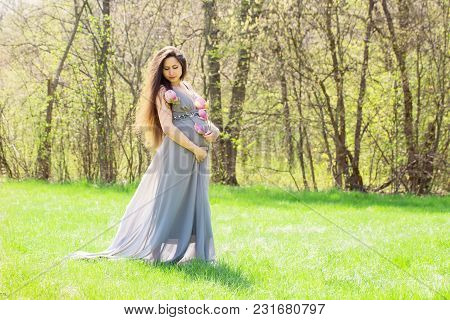 Beautiful Pregnant Woman On A Meadow With A Magnolia Branch