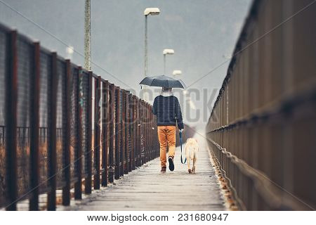 Gloomy Weather In The City. Man With His Dog (labrador Retriever) Walking In Rain On The Bridge. Pra