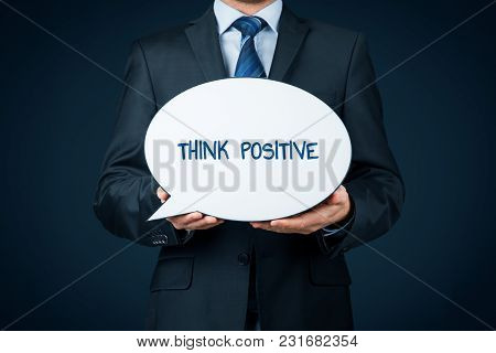 Coach Motivate To Think Positive Concept. Businessman With Bubble Propagate Positive Thinking.
