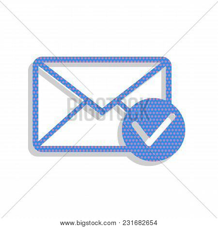 Mail Sign Illustration With Allow Mark. Vector. Neon Blue Icon With Cyclamen Polka Dots Pattern With