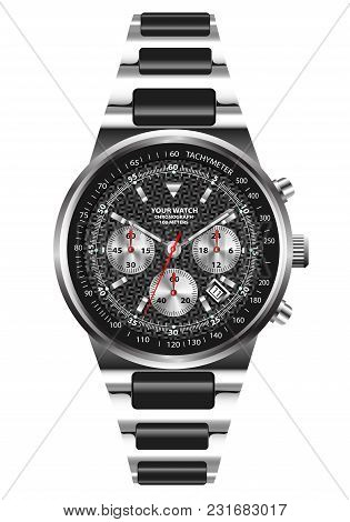 Watch Clock Chronograph Stainless Steel Design On White Background Vector Illustration.