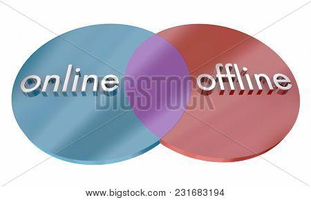 Online Vs Offline Communication Venn Diagram Comparison 3d Illustration