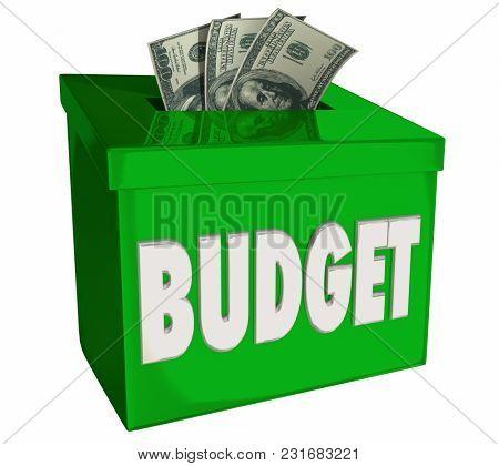Budget Money Deposit Box Save Cash Income 3d Illustration
