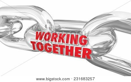 Working Together Chain Links Cooperation Bound Partners 3d Illustration