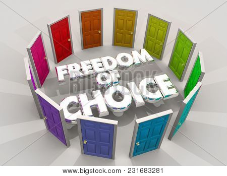 Freedom of Choice Doors Choose Your Future Option 3d Illustration