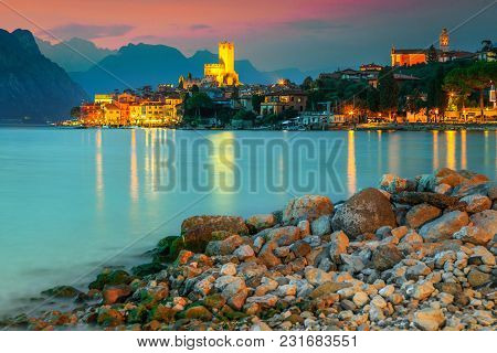 Fantastic Malcesine Touristic Recreation Resort, Colorful Sky With Stunning Sunset, Garda Lake, Vene