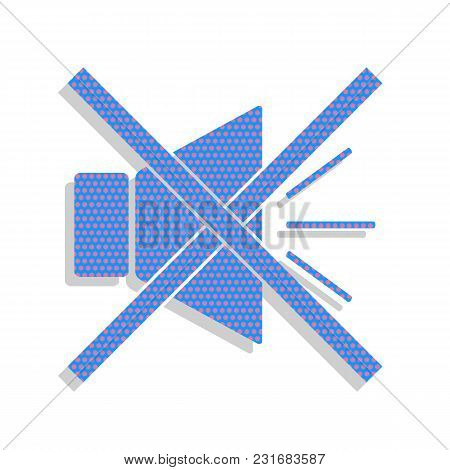Sound Sign Illustration With Mute Mark. Vector. Neon Blue Icon With Cyclamen Polka Dots Pattern With