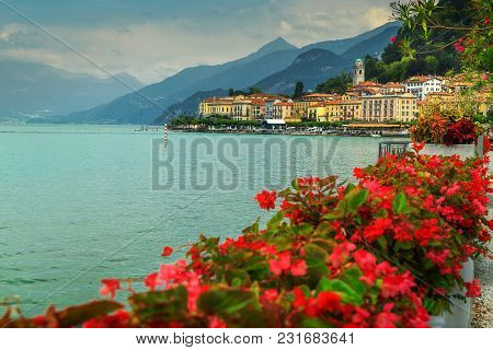 Famous Cityscape With Colorful Luxury Buildings And Mediterranean Flowers, Bellagio, Lake Como, Lomb