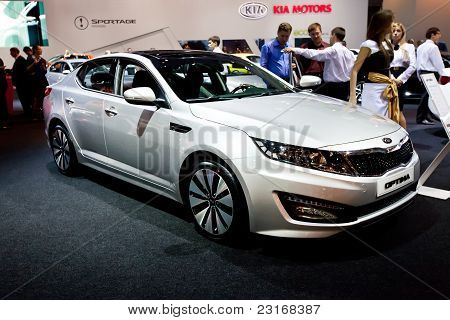 Moscow, Russia - August 25:  Grey Car Kia Optima At Moscow International Exhibition Interauto On Aug