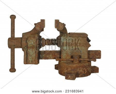 Old Rusty Metalwork Vise Made In The Ussr, Isolated On White Background.the Inscription Leningrad Is