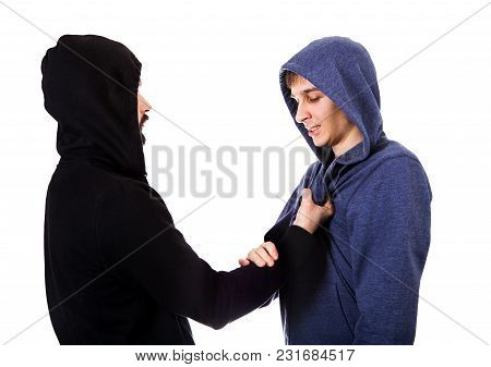 Conflict Of Two Guys Isolated On The White Background