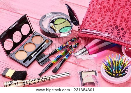 Female Makeup Kit, Wooden Background. Pink Makeup Bag And Collection Of Cosmetics Products, Pink Bac