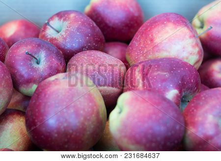 Fresh Juicy Red Apples Close-up, Shallow Depth Of Field
