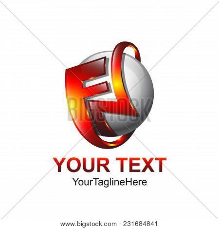 Initial Letter Fn Logo Template Colored Red Orange Sphere Design For Business And Company Identity