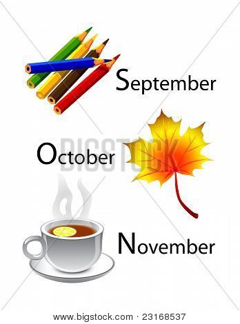 autumn calendar - september, october, november