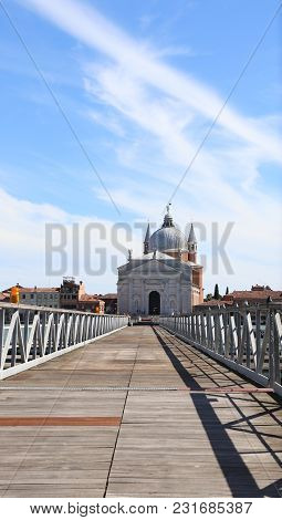 Venice Italy Floating Bridge In Wood And Steel Which Connect The Church Of The Redeemer Many The Boa