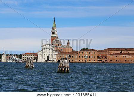 Venice Italy Saint George Church Callled San Giorgio In Italian Language And The Giudecca Canal