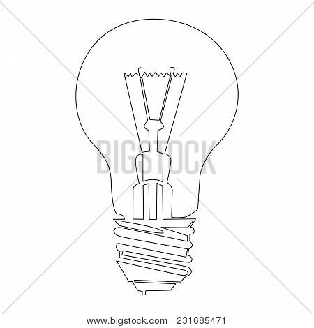 Continuous One Line Drawing Light Bulb Symbol Idea. Vector Illustration