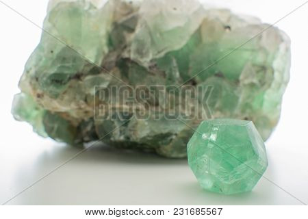 Green Gemstone Natural Mineral Fluoride Or Green Beryl Isolated