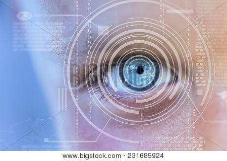 Modern Cyber Boy With Digital Eye Technolgy