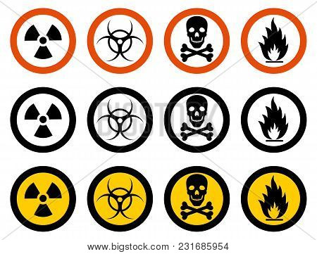 Dangerous Concept. Set Of Different Signs Of Chemical, Radioactive, Toxic, Poisonous, Hazardous Subs