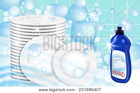 Dishwashing Liquid Products With Plates Stack. Bottle Label Design. Dish Wash Advertisement Poster L