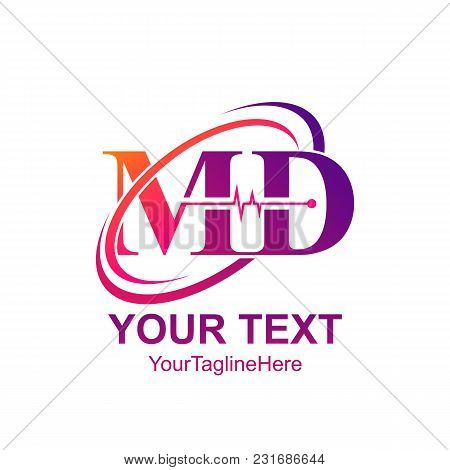 Initial Letter Md Logo Template Colorfull Swoosh Heartbeat Design For Business And Company Identity