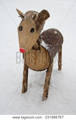 Wooden Deer On Czech Mountains, Bila, Czech Rebublic, Europe
