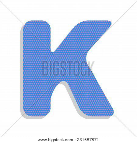 Letter K Sign Design Template Element. Vector. Neon Blue Icon With Cyclamen Polka Dots Pattern With